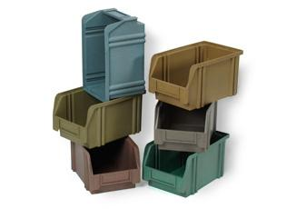 Multicoloured injection moulded storage boxes